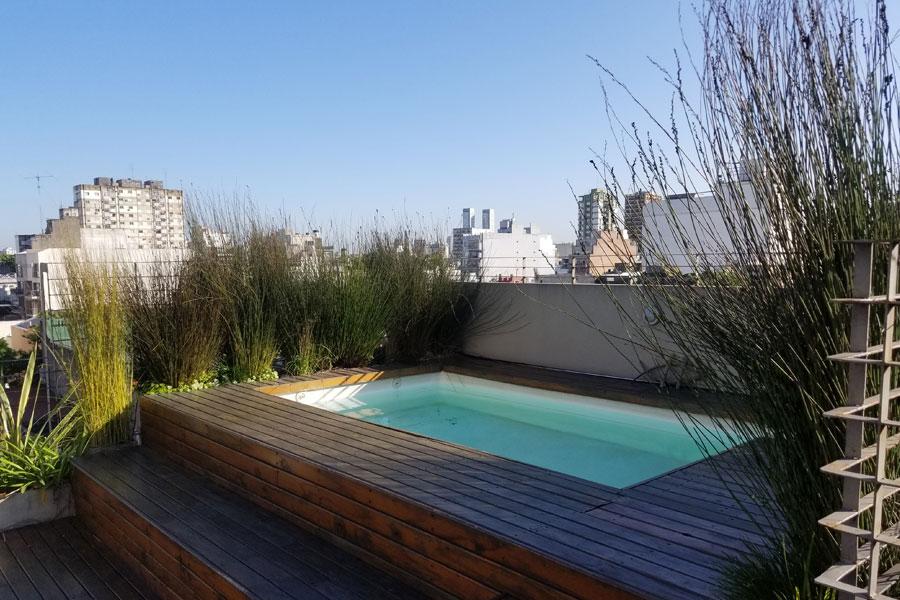 Piscina terraza casa Araoz